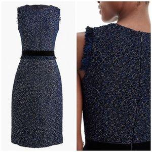 J. Crew metallic blue tweed fringe sheath dress